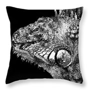 Black And White Iguana Art - One Cool Dude 2 - Sharon Cummings Throw Pillow