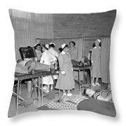 Blood Drive 1958 Black White 1950s Archive Brick Throw Pillow