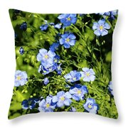 Blue Flax Throw Pillow
