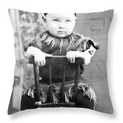 Boy Dressed Elf Sitting Backwards In Chair 1890s Throw Pillow