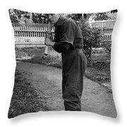 Boy In Baseball Uniform Posing Bat Circa 1898 Throw Pillow