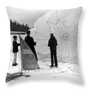 Boys Frozen Lake Parachute Sailboard Circa 1960 Throw Pillow