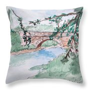 Bridge At Bellevue Gate Lodge Co. Wexford Throw Pillow
