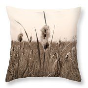 Broadleaf Cattail 1 Throw Pillow