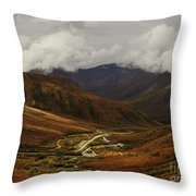 Brooks Range, Dalton Highway And The Trans Alaska Pipeline  Throw Pillow