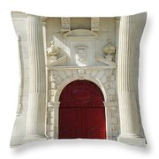 Burgundy Door Throw Pillow