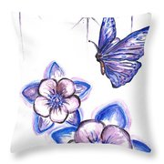 Butterfly Amongst The Flowers Throw Pillow