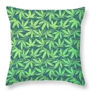 Cannabis   Hemp  420   Marijuana  Pattern Throw Pillow