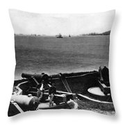 Cannons In Fort Aimed Harbor Circa 1865 Black Throw Pillow
