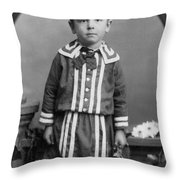 Child Kid Flowers 1890s Black White Archive Boot Throw Pillow