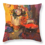 Clarice Cliff Rose Table  Throw Pillow