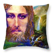 Contemporary Jesus Painting, Chalice Of Life Throw Pillow