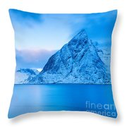 Cool Blue Dawn Over Mount Olstind Throw Pillow