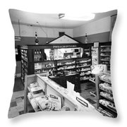 Counter In Drugstore 1959 Black White 1950s Throw Pillow