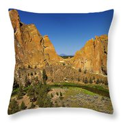 Crooked River At Smith Rock State Park Oregon  Throw Pillow