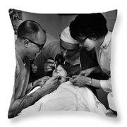 Dentist Staff Girl Circa 1960 Black White 1950s Throw Pillow