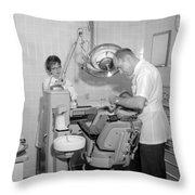 Dentist Working Patient October 18 1962 Black Throw Pillow