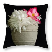 Desert Rose   Chrysanthemum And Adenium Obesum Throw Pillow