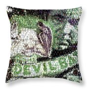 Devil Bat Movie Poster Horror Mosaic Throw Pillow