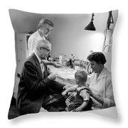 Doctor Giving Toddler Shot 1958 Black White Baby Throw Pillow