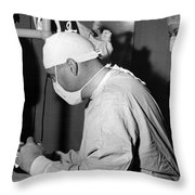 Doctor Nurse In Operating Room May 1964 Black Throw Pillow