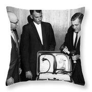 Doctors Looking Heart Circa 1960 Black White Throw Pillow