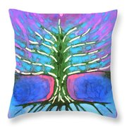 Electric Tree Throw Pillow
