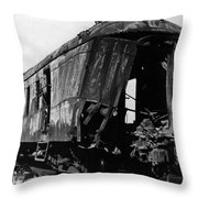 Exploded Train Car Robbery October 1923 Black Throw Pillow