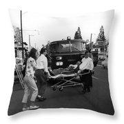 Fire Department Rescue Circa 1960 Black White Throw Pillow