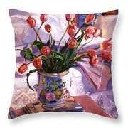 Fresh Tulips Throw Pillow