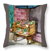 Fruit And Vegetable Stand In Nice, France Throw Pillow