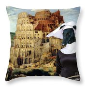 Galgo Espanol - Spanish Greyhound Art Canvas Print -the Tower Of Babel  Throw Pillow