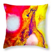 Giraffe In Flames - Abstract Colorful Mixed Media Painting Throw Pillow