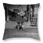 Girl Hugging Stuffed Animal Porch 1920s Black Throw Pillow