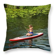 Girl In Canoe Throw Pillow