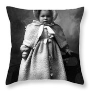 Girl Posing In Winter Coat 1903 Black White Throw Pillow