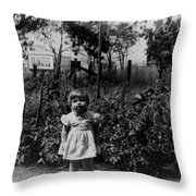 Girl Tomato Patch 1950s Black White Archive Kids Throw Pillow