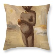 Girl With Orange In Cairo Throw Pillow