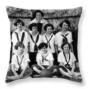 Girls High School Basketball Team 1910s Black Throw Pillow