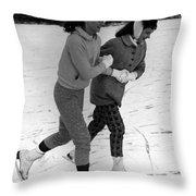 Girls Ice Skating Circa 1960 Black White 1950s Throw Pillow
