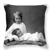 Girls Posing June 30 1905 Black White 1900s Throw Pillow