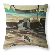 Gray Skies Out On The Sea  Throw Pillow