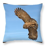 Great Gray Owl Plumage Patterns In-flight Throw Pillow