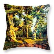Green Summer-the Oak Forest Throw Pillow