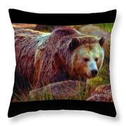 Grizzly Bear In Rocks Throw Pillow