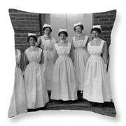Group Nurses 19151916 Black White 1910s 1915 Throw Pillow