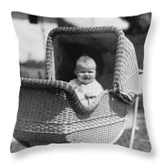 Happy Baby In Wicker Buggy Fall 1925 Black White Throw Pillow