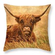 Happy Highlander Throw Pillow