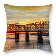 Harahan Bridge In Memphis,tennessee At Sunset Throw Pillow
