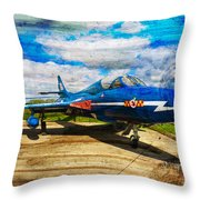 Hawker Hunter T7 Aircraft On Wood Throw Pillow